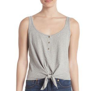 Abound Tie Front Tank Top Gray L